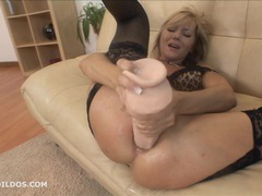 Blonde milf punishes her asshole with a brutal dildo videos