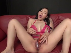 Masturbating lingerie babe covered in hot cumshots videos