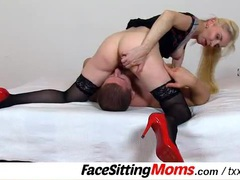 Blonde mom rubs her cunt all over his face movies at sgirls.net