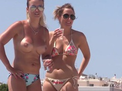 Chicks with their tits out for a beach selfie movies at kilosex.com