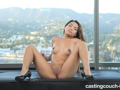 Solo asian masturbates on the casting couch tubes at thai.sgirls.net