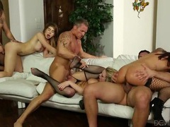 Sweaty orgy scene with a wild collection of hotties videos