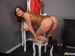 Chick in a sparkly clubbing dress gives joi movies