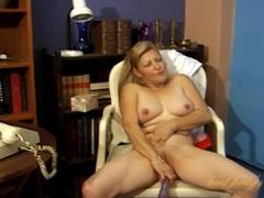 Mature secretary fucks a dildo in the office movies at kilotop.com