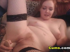 Chubby ass cam redhead fucks a toy erotically tubes