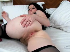 Long pubic hair looks hot on the milky white milf videos