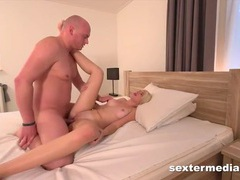 Pumping the shaved cunt of a sexy german blonde videos