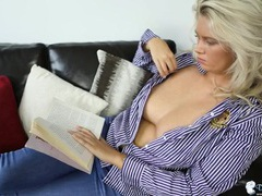 Blouse babe reading with her big tits exposed movies at lingerie-mania.com