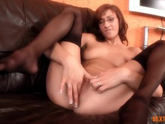 Dildo stretching for her wet pussy tubes