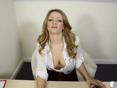 Hot blonde secretary in a blouse with no bra movies at lingerie-mania.com