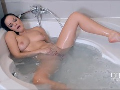 Blue dildo banging a naked lady in the bathtub videos