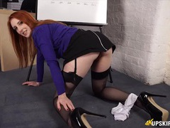 Blouse and skirt babe at work teases you and gives joi movies at kilotop.com