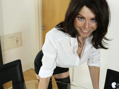 Slutty skirt and an unbuttoned blouse on a secretary videos