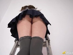 Pleated skirt upskirt from a british tease videos