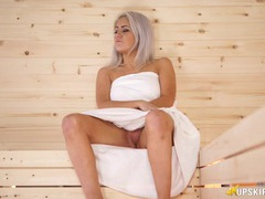 Spy up the towel of the girl in the sauna videos