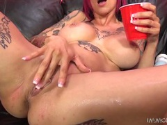 Couch is soaked with her pussy squirting juices videos