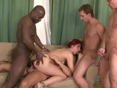 All holes of a redhead filled in a gangbang movies at lingerie-mania.com