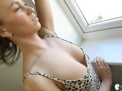 Leopard print dress babe has the hottest cleavage videos