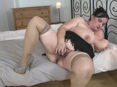 Bbw groping her tits and fucking her dildo videos
