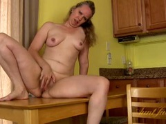 Mature nipples are rock hard as she masturbates movies at lingerie-mania.com