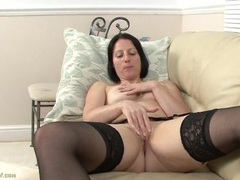 Cute freckled milf masturbates in stockings videos