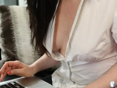 White blouse opens up and her tits come out videos