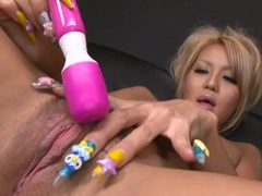 Asian glamour blonde turned on by her toys videos