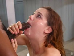 Face covered in spit during an interracial bj videos