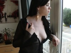 Wicked sexy black blouse on a babe exposing her tits videos