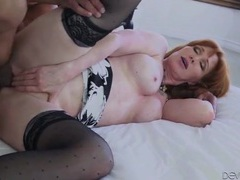 Beautiful mature redhead opens wide for dick movies at lingerie-mania.com