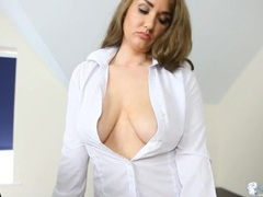 Cleavage and downblouse tease with a secretary movies