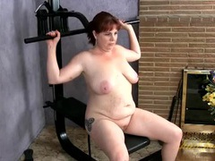 Naked mature redhead with a fat ass working out videos