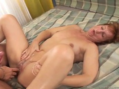 Old lady on her back makes his dick cum videos