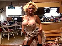 Hot and hairy mature blonde masturbates in stockings movies at lingerie-mania.com