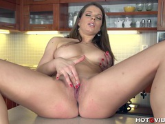 Big titted brunette plays with her pussy in the kitchen movies at kilopills.com