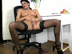 Lingerie is so hot on this big tits solo milf movies at kilogirls.com