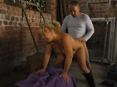 Chubby wife in leather boots fucked on the farm movies at freekiloporn.com