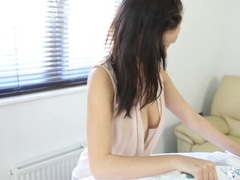 Ironing babe in a blouse is braless and wonderful videos