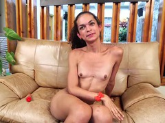 Skinny tranny newcomer interviews before a shoot videos