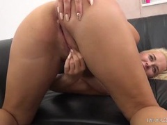 Holding the hips of a hot slut as he drills her doggystyle videos
