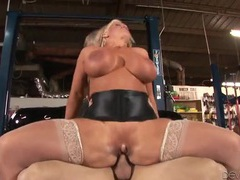 Mechanic nails the milf slut with big fake tits videos