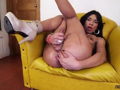 Skinny solo tgirl jerks off and cums hard movies at kilotop.com