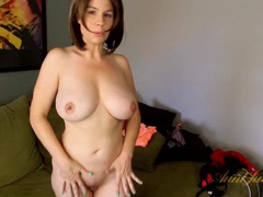 Stripping milf has a stunning pair of big tits videos
