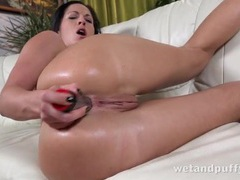 Silver dildo bangs her tight lubed up asshole videos