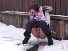 Public pissing on a cold and snowy winter day movies at sgirls.net