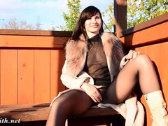 Sheer pantyhose babe flaunting in the park videos