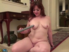 Elegant milf redhead with sexy curves strips and masturbates videos
