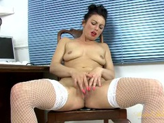 Mom in her home office masturbating her hot cunt videos