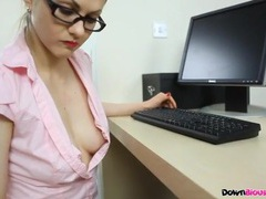 Secretary nipple slip in a sexy pink blouse movies