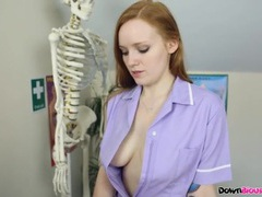 Beautiful nurse redhead flashes her tits at you movies at lingerie-mania.com